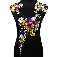 Juego de parches florales bordados para hacer manualidades, accesorios, apliques, decoraciones, etc