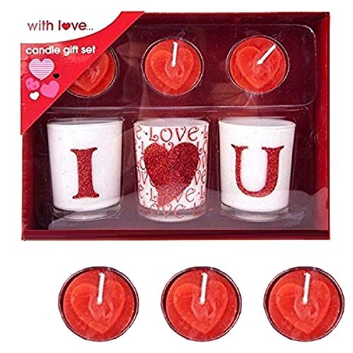 6pc candele set regalo di san valentino day i love you candle & bath time tea lights uk