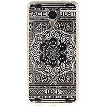 Guran® Silicona Funda Carcasa para Meizu M2 Note Smartphone Bumper TPU case Cover-Flor negro