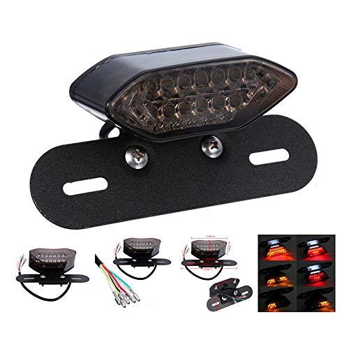 LED Motorrad Kennzeichenbeleuchtung und Blinker, Quad ATV Schwanz Nummernschild Integriertes Licht, Kennzeichenhalter mit Heckleuchten Umfasst Bremslicht, 20 LEDs in Drei Farben