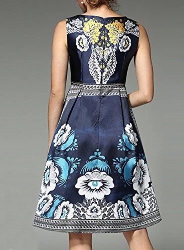 Azbro Women's Sleeveless Tribal Print A-line Dress Navy