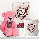 Jhingalala Gift for Sister   Teddy Bear with I Love My Sister Printed Coffee Mug and Greeting Card   Combo Gifts for Sister o