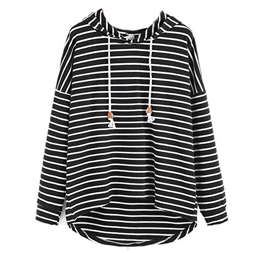 KOKOUK Women's Hoodies Womens Stripe Long Sleeve Hoodie Sweatshirt Casual Loose Hooded Pullover Jumper Tops Belted Button Strap Dress