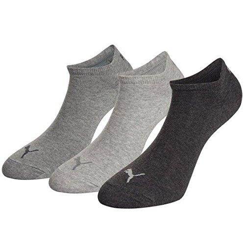 PUMA Unisex Invisible Sneaker Socken 6er Pack, Größe:47-49;Farbe:anthracite. lightr grey mel/middle grey mel - 6 Pack Socken