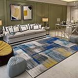 A-ZHP & Teppich Supermarkt Nordic Wohnzimmer Teppich Geometrische Design des Teppichs Schlafzimmer voller Teppich Einfache Moderne Couchtisch Bettdecke (160 * 230cm) blau Bodenmatte für zu Hause