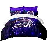 Moda Galaxia Impresión 3 Piezas Sets Funda Nórdica Púrpura Los Animales Estilo Patrón de la India Conjuntos de Ropa de Cama con 2 Almohadas Regalo para ...