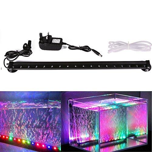 Xcellent Global Luci Multicolore a 18 LED con Bolle d'Aria per Acquario Impermeabili Sommergibili 46 cm con Presa UK I-LD081