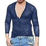UJUNAOR Männer Bluse Mode Solide Tiefem V-Ausschnitt Langarm Slim T-Shirt Grundlegende Tops Bluse Atmungsaktiv(Marine,CN S)