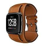 squarex Bands Armbänder Leder Stil Ersatz-Gurt für Fitbit Versa Smartwatch, Damen, braun, AS Show
