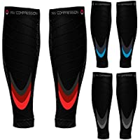 NV Compression Race and Recover Manchons de compression pour les mollets - Noir - Compression Sports Calf Sleeves - Black - For Running, Cycling, Triathlon, Crossfit, Gym