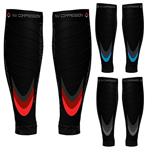 """NV Compression Race and Recover fasce di compressione per polpacci - Nero - Calf Guards/Sleeve Socks (PAIR) 20-30mmHg - For Sports Recovery, Work, Flight - Running, Cycling, Soccer, Rugby, Fitness, Gym, Golf, Tennis, Triathlon (Black/Blue, L-XL (14-19"""" / 36-48cm))"""