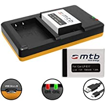 2 Baterías + Cargador doble (USB) para LP-E17 / Canon EOS 77D, 200D, 750D, 760D, 800D / EOS M3, M5, M6 (SIN indicación del tiempo restante de toma!)