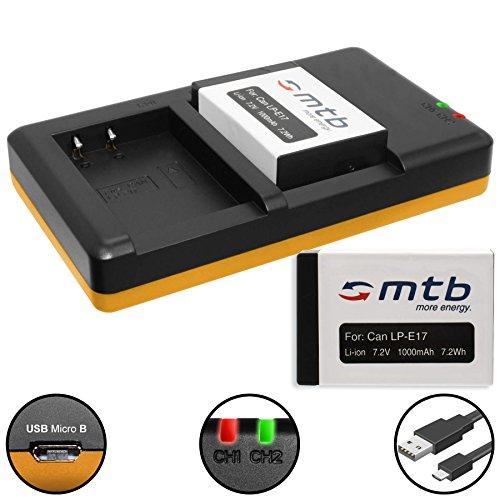 Galleria fotografica 2 Batterie + Caricabatteria doppio (USB) per LP-E17 / Canon EOS 77D, 200D, 750D, 760D, 800D / EOS M3, M5, M6 (SENZA indicazione del tempo rimanente di ripresa!)