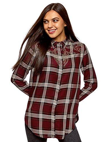oodji Ultra Damen Viskose-Bluse mit Applikation auf der Brust, Rot, DE 42 / EU 44 / XL