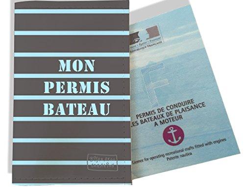 Porte permis bateau, protège permis bateau, Etui pochette de protection pour permis bateau Motif Marinière bleue et grise 1513