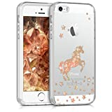 kwmobile Hülle für Apple iPhone SE / 5 / 5S - TPU Silikon Backcover Case Handy Schutzhülle - Cover klar Einhorn Design Rosegold Transparent