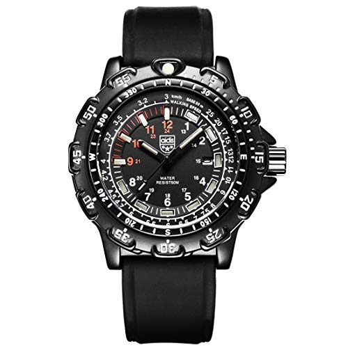 AUSWIEI Herren Sport Militär Wasserdichte Armbanduhr mit Leucht (Color : Black)