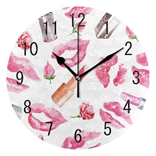 Use7 Home Decor Aquarell Lippenstift Kiss Lips Runde Acryl Wanduhr Nicht tickend leise Uhr Kunst für Wohnzimmer Küche Schlafzimmer