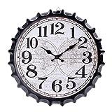 yepeng0605 Reloj De Pared Tapa De Botella Retro Mudo Reloj De Pared Antiguo Hogar Cocina Oficina Decoración del Hogar Sala De Estar Cuarzo Simple,35cm