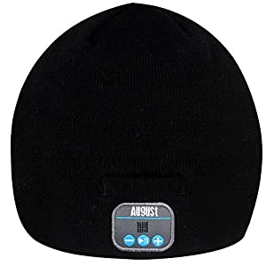 August EPA20 - Bluetooth Cap - Winter Beanie Hat with Bluetooth Stereo Headphones, Microphone, Hands Free System and Rechargeable battery - Compatible with Mobile Phones, iPhone, iPad, Laptops, Tablets, Smartphones (Blue) - Cool Christmas Gift for Teenage