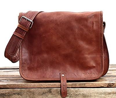 LE MESSAGER (M) color natural, bolso de escuela, bolso del estudiante, (apropiado para A4), color marrón PAUL MARIUS Vintage & Retro de BagCentre