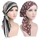 Boboder Cappello di chemio per donna morbido e soffice cappuccio a soffietto lungo a turbante con testa a turbante per la perdita dei capelli, sonno 2 Pezzi