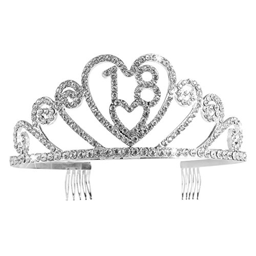 Pixnor Silber Diamant Crystal 18. Geburtstag Tiara Crystal Tiara Geburtsstag Krone Pricess Krone