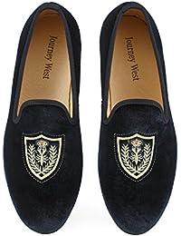 Los Hombres Zapatos Mocasines de Terciopelo Bordado Negro/Rojo/Azul