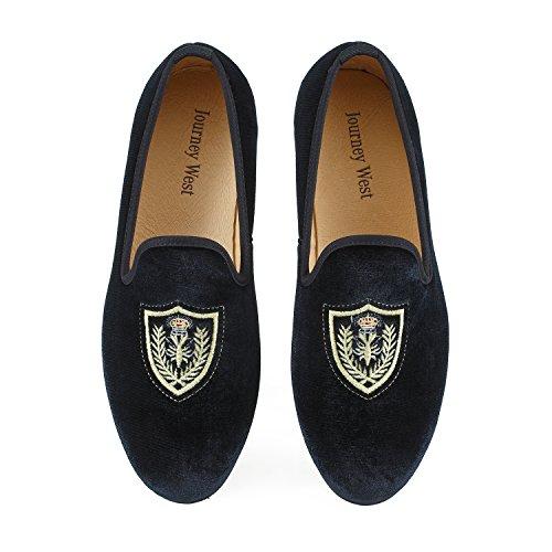 Veste en velours vintage Flâneur hommes broderie Noble Hommes Chaussures à enfiler Flâneur fumer Chaussons Noir/Bleu Schwarz Schild