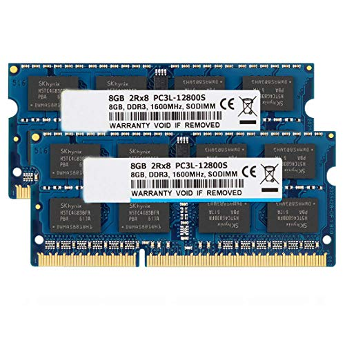 BPX 16GB Kit (2 x 8 GB) DDR3L / DDR3 1600MHz SODIMM PC3L / PC3-12800 2Rx8 1.35V /1.5V CL11 204 Pin Non-ECC ungepufferte Laptop-Speicher Notebook-RAM-Modul für Mac, Intel und AMD-System -