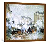 kunst für alle Bild mit Bilder-Rahmen: Claude Monet Exterior of The Gare Saint-Lazare, Arrival of a Train, 1877