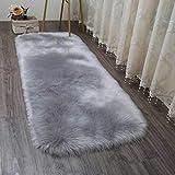 HEQUN Faux Lammfell Schaffell Teppich Flauschig Weiche Nachahmung Wolle Teppich Longhair Fell Optik Gemütliches Schaffell Bettvorleger Sofa Matte (Grau, 150 X 50 cm)