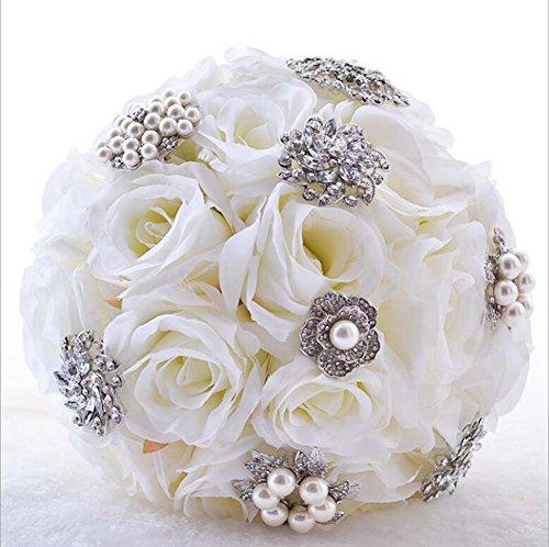 Roses artificielles Bouquet romantique tenant des fleurs blanc rose blanc K diamant fournitures de mariage cadeaux de mariage diamant artificiel et perles