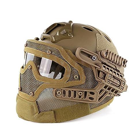 AIRSOFT Tactical PJ Fast Helm mit Stahl Maske und Schutzbrille G4SYSTEM schutzausrüstungen htuk®, hautfarben