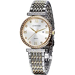 Comtex Women's Swiss Quartz Watch Gold Tone Silver Dial with Date Display