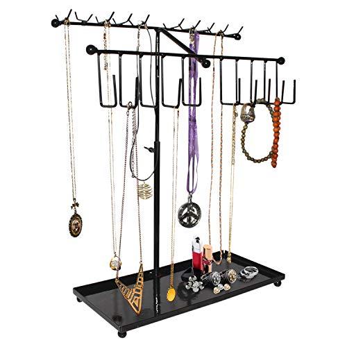 Schmuckständer - 30 Haken, H42cm x B29cm Kettenständer - Verstellbarer Schwarzer Metall Halsketten Organizer/Armbandhalter mit Tablett zur Schmuck-Aufbewahrung - Schmuckbaum für große Ohrringe Uhren