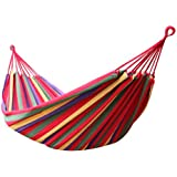 Enkeeo - Hamaca Colgante de Algodón para Jardín Camping (2 Cuerdas, Capacidad 220kg, 200 x 150cm) Multicolor