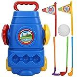 VGEBY1 Jouets de Golf pour Enfants, Chariot de Golf pour Enfants, Mini-Clubs de Golf en Plastique, Panier, Ensemble de Jouets Jeu de Sport pour Enfants (3 Clubs de Golf + 1 Voiturette de Golf)