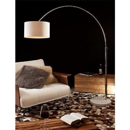 Steh-Lampe dimmbar weiß mit Standfuß aus Marmor 210x180 cm | Iluma | Steh-Leuchte groß mit Lampenschirm aus Textil | Bogen-Lampe für Wohnzimmer 210cm x 180cm