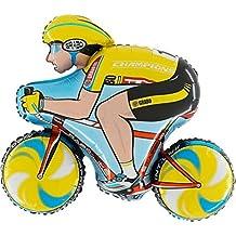 """1 x Giallo Ciclista Palloncino di stagnola Forma 31 """"x 35"""" / 79 cm x 89 cm"""