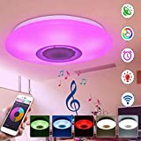 WowObjects RGBW APP/Voice Control Dimmable Bluetooth Speaker LED Ceiling Light Fixture Work