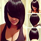 MARIAN Synthetic Hair Short Bob Black Straight Wig Natural Wigs for Women + a Wig Cap