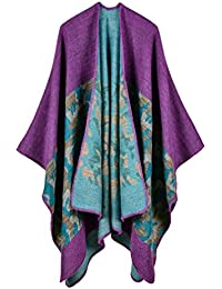 Honghu Mujeres Poncho Cardigan de Punto con Bloques de Colores de Gran Tamaño Manta Capas Bufanda Chal Bufandas de Otoño e Invierno