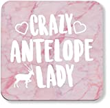 Hippowarehouse Crazy antelope lady pack of 2 coasters gloss finish durable backing 9cm x 9cm