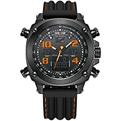 Alienwork DualTime Analogue-Digital Watch Chronograph LCD Wristwatch Multi-function XXL Oversized Polyurethane black black OS.WH-5208J-B-07