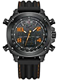 Alienwork DualTime Analogue-Digital Watch Chronograph LCD Wristwatch Multi-function XXL Oversized Polyurethane black black OS.WH-5208J-B-07