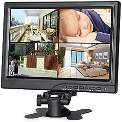 """Koolertron 10.1"""" Moniteur CCTV 1280*800 IPS Écran LCD avec HDMI/VGA/AV Port Support 1080P pour DSLR/PC/ Caméra de Vidéosurveillance/DVD/Voiture/ Domicile Bureau Système de Sécurité de Surveillance"""