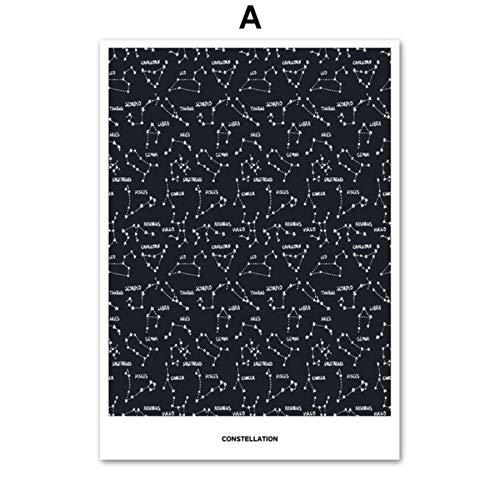 XWArtpic Sternbild Sternenkarte Zitate Liebe Wandkunst Leinwand Malerei Nordic Poster Und Drucke Wandbilder Für Wohnzimmer Wohnkultur Eine 50 * 70 cm