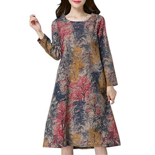 Lazzboy Womens Long Sleeve O Neck Pocket Floral Print Loose Baggy Casual Long Maxi Dress