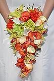 botanique Orange Phalaenopsis orchidées, gerberas et Calla Cascade de mariage Bouquet de mariage